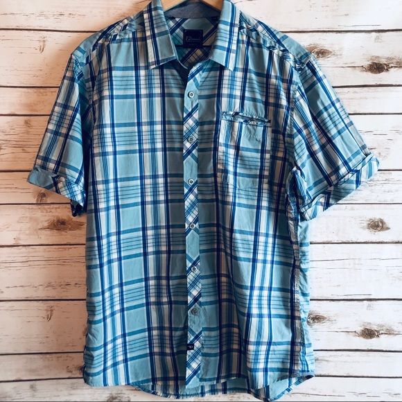 7 Diamonds Other - 7 Diamonds Blue Plaid Button Up Shirt Sleeve Shirt